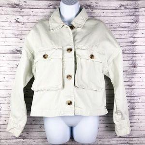 Zara Cargo Denim Light Green Jean Jacket S
